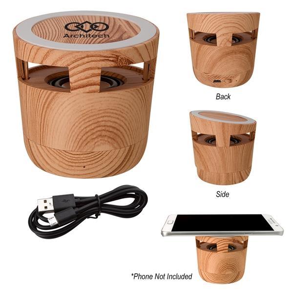 Woodgrain Wireless Charging Pad And Spea
