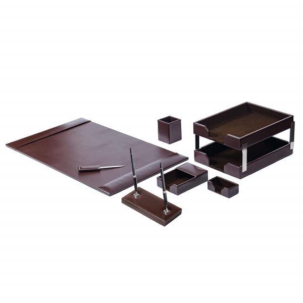 9 Piece Dark Brown Econo-Line Leather Desk Set