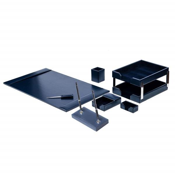 9 Piece Navy Blue Econo-Line Leather Desk Set
