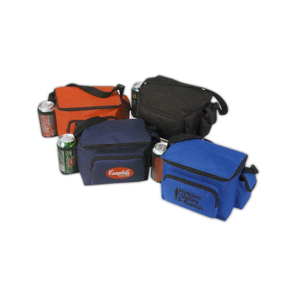 6 PACK POLY COOLER W / BOTTLE HOLDER