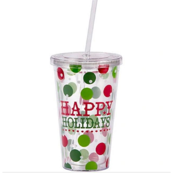 22oz Plastic Double Wall Cup with Straw