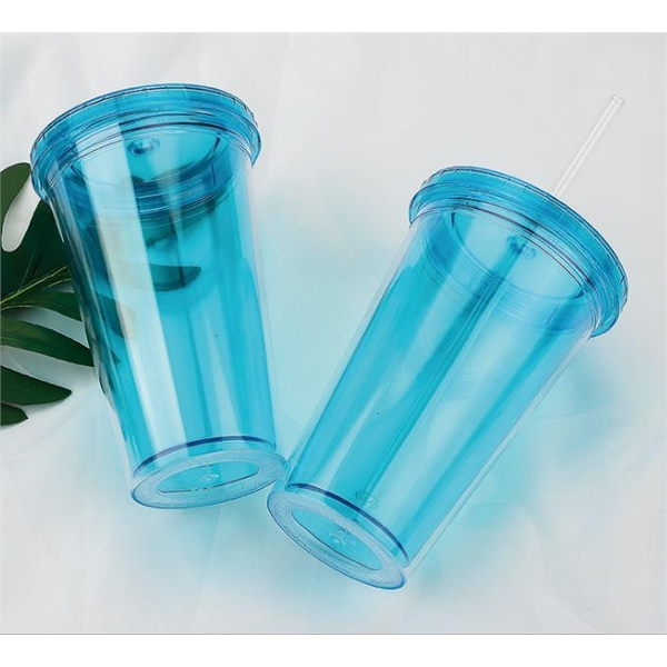 Clear Double Wall Plastic Tumbler