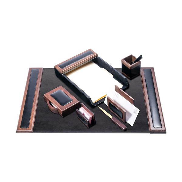 7-Piece Wood & Leather Desk Set with Smaller Desk Pad