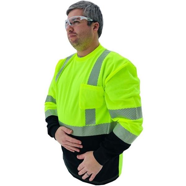 Forester® Hi Vis Black Bottom Reflective Safety LS Shirt