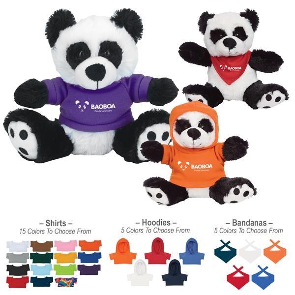 "6"" Plush Big Paw Panda With Shirt"