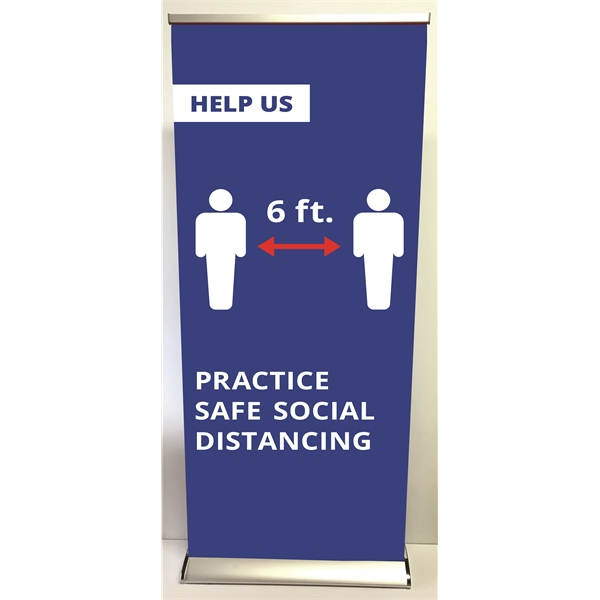 Deluxe Retractable banner stand with stock covid-19 design