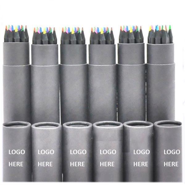 12 Colors Black Wooden Pencil in Barrel