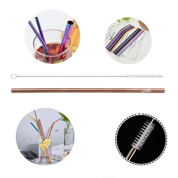 215mm Reusable Stainless Steel Straw (Straight) With Cleaner