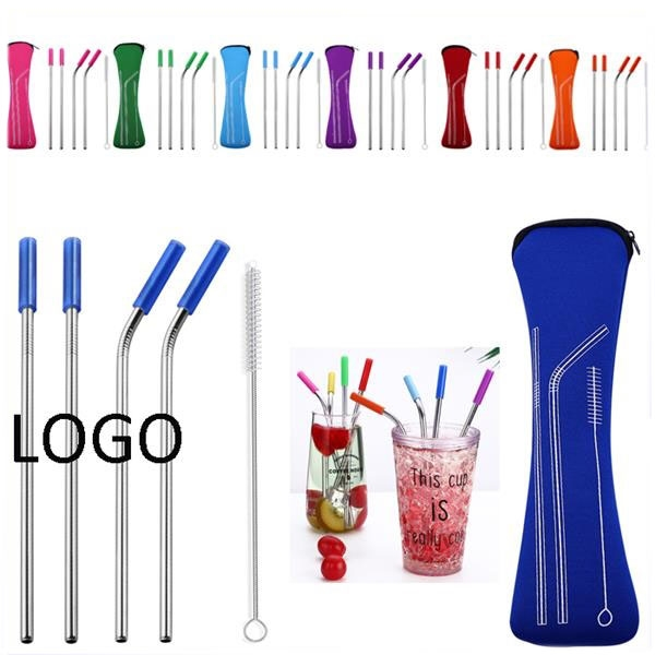 4pcs Blue Color Reusable Stainless Steel Straw With Brush