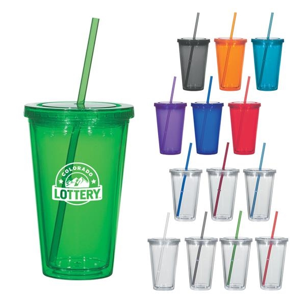 16 Oz. Newport Acrylic Tumbler With Straw