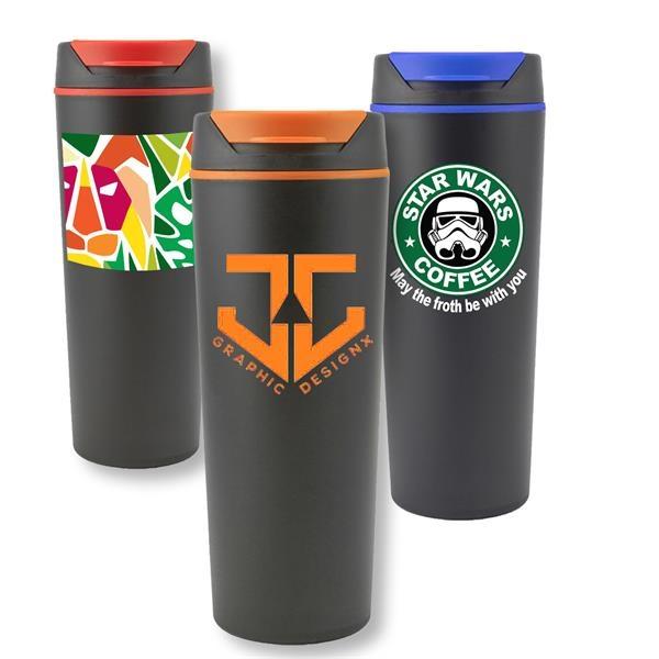 18 Oz Plastic Tumbler w/ Color Accent Flip top & Custom Logo