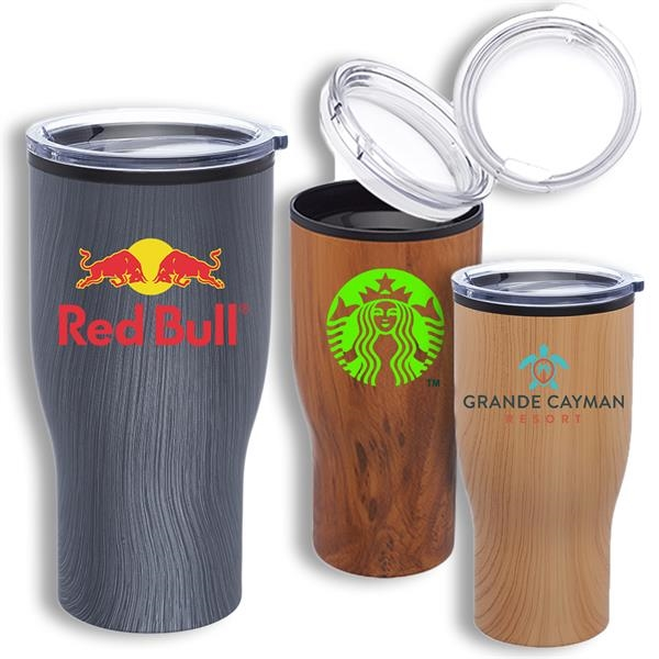 28 oz Stainless Steel Tumbler w/ Wooden