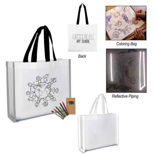 Reflective Coloring Tote Bag With Crayon
