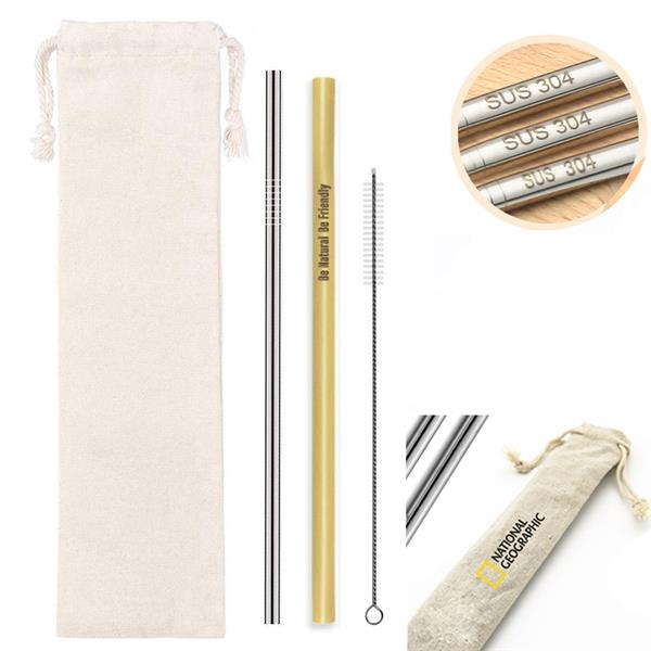 Set of Stainless Steel and Bamboo Straws, Cleaning Brush i