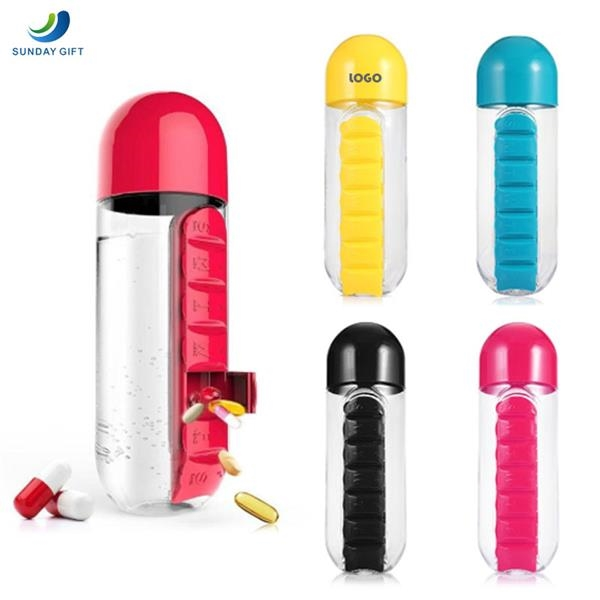 7 Day Pill Box Organizer with Water Bottle
