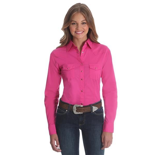 Wrangler Women's Long Sleeve Solid Fashion Workshirt