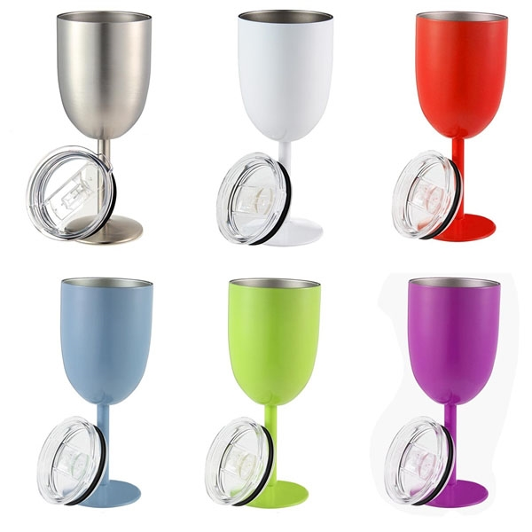 10oz Stainless Steel Double Walled Insulated Goblet with Lid