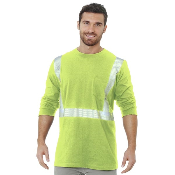 Made in USA Hi-Visibility 50/50 Pocket L/S Crew Tee