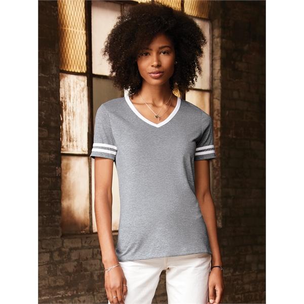 JERZEES® TRI-BLEND LADIES' Varsity Ringer V-Neck T-Shirt