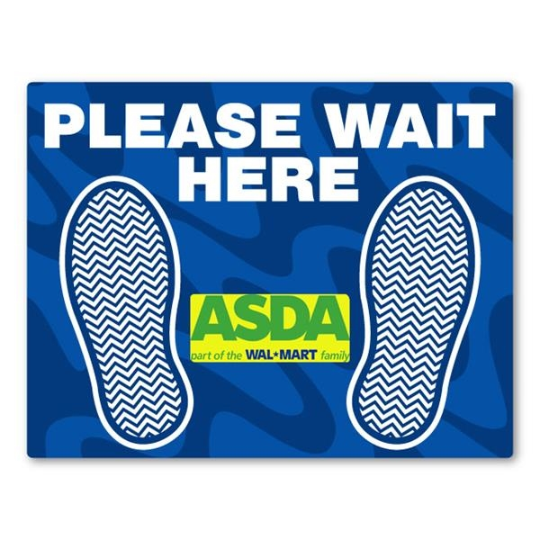 PLEASE WAIT HERE Adhesive Floor Decal w/ Full Color Imprint
