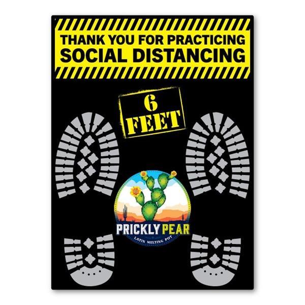 SOCIAL DISTANCING Rectangle Floor Decals w/ Full Color Logo