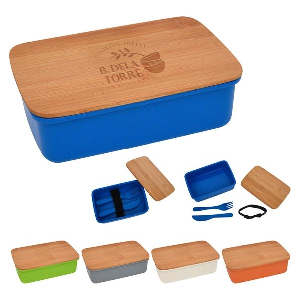 Wheat Lunch Set With Bamboo Lid