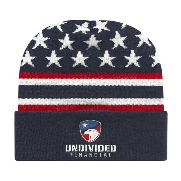 In Stock Flag Knit Cap with Cuff