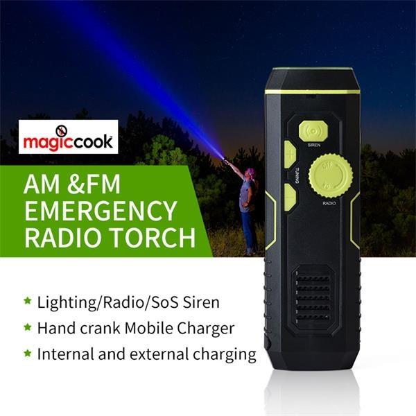 Crank Flashlight Radio USB Charging Battery Bank Sirens 3in1