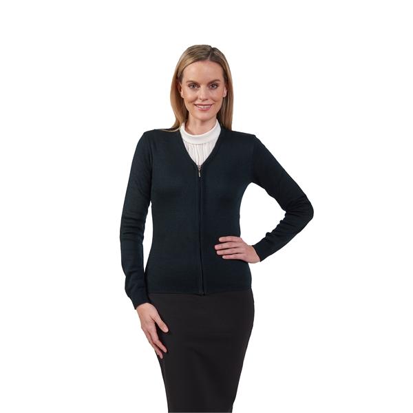 Ladies V-Neck Zip Front Cardigan