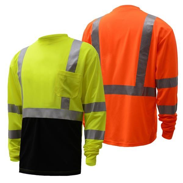 Custom High Visibility Birdseye LS T Shirt w/ Navy Bottom