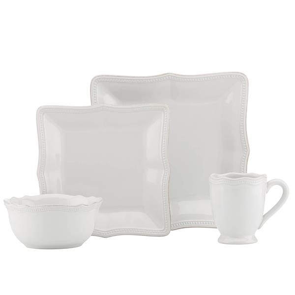 French Prl Bead Dinnerware Sq 4Pps