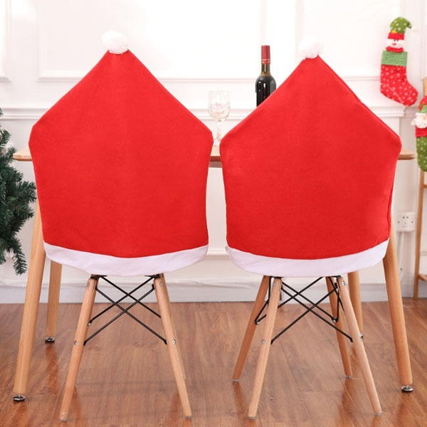 Red Non-woven Santa Hat Christmas Chair Covers