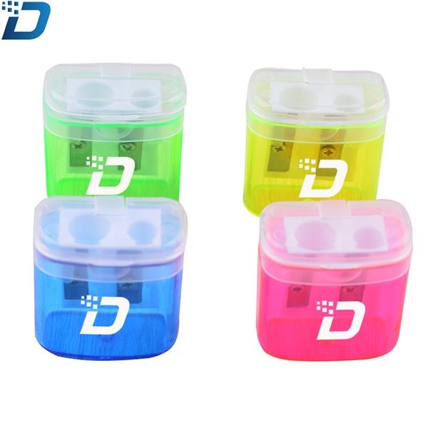 Dual Hole Plastic Pencil Sharpener With Lid