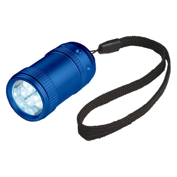 Small Aluminum Stubby LED Flashlight With Strap