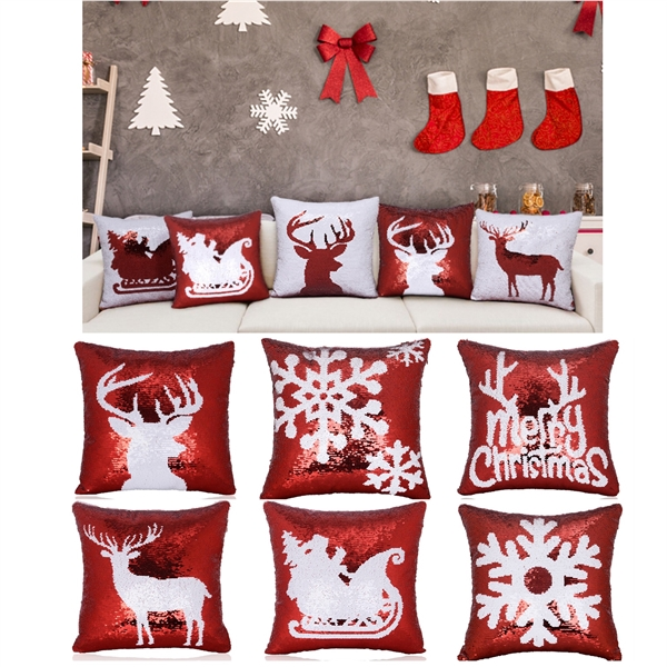 Christmas Sequin Throw Pillow Covers