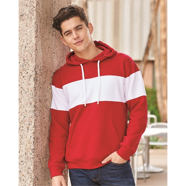 J. America Varsity Fleece Colorblocked Hooded Sweatshirt
