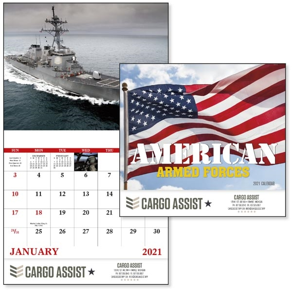 Stapled American Armed Forces 2021 Calendar