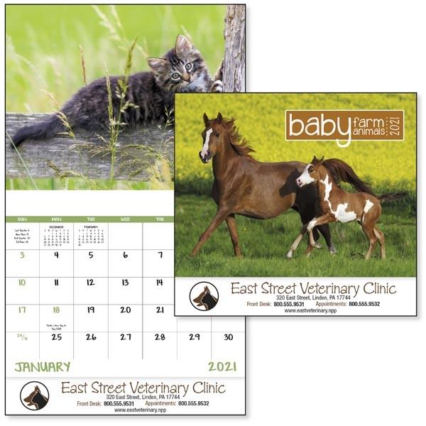 Baby Farm Animals Stapled 2022 Calendar