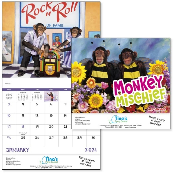 Stapled Monkey Mischief Lifestyle 2022 Appointment Calendar