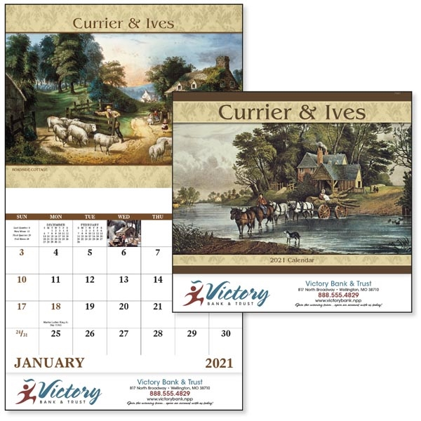 Stapled Currier & Ives Americana 2020 Appointment Calendar