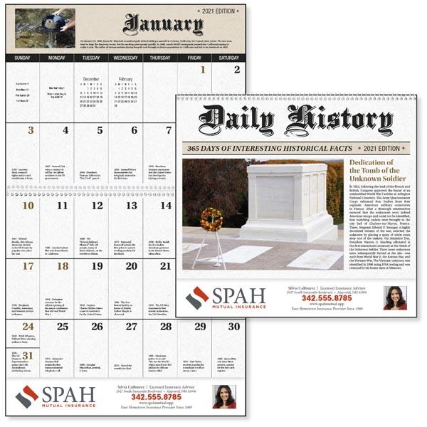 Daily History 2021 Calendar