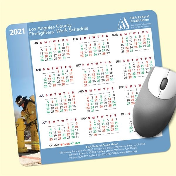 ReTreads®7.5x8x3/32 Recycled Hard Surface Calendar Mouse Pad