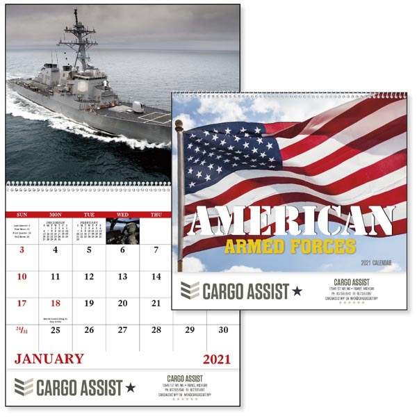 Spiral American Armed Forces 2021 Calendar