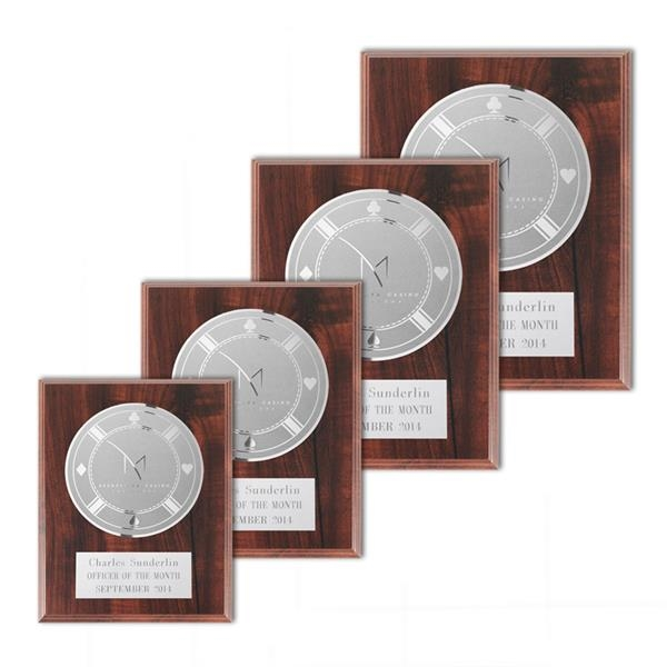 Etch/Frosted Plaq - Walnut Finish/Silver
