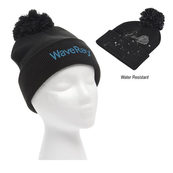 Water-Resistant Pom Beanie With Cuff