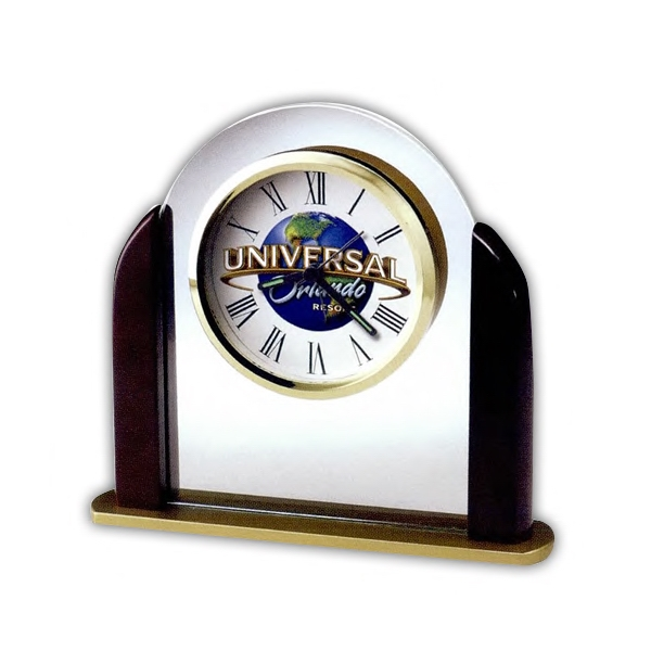 Derrick - Glass Arch Tabletop Alarm Clock With Satin Rosewood Finished Sides And Custom Dial Photo