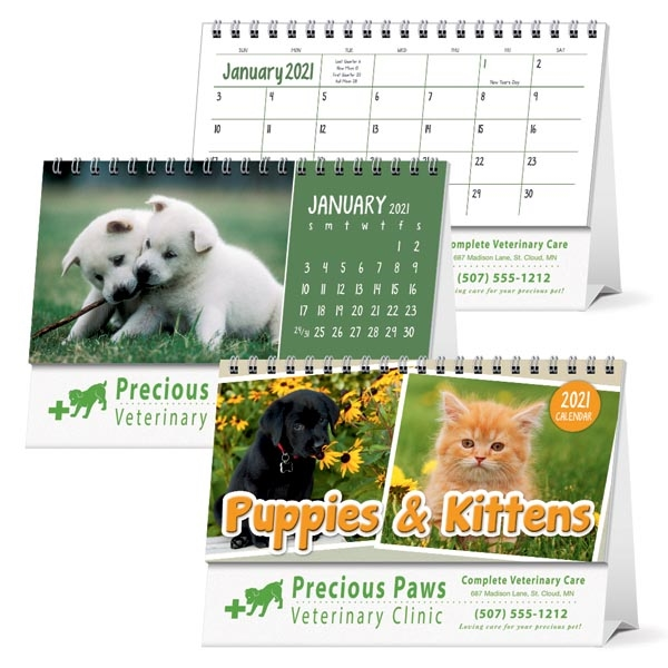 Puppies & Kittens Desk 2021 Calendar