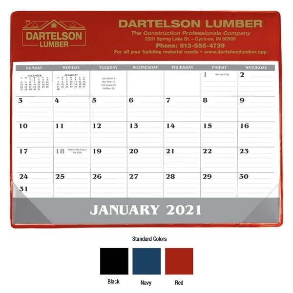 Small Vinyl Desk Pad 2021 Calendar