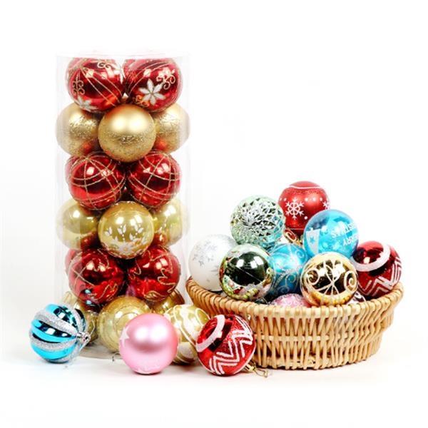 24 Christmas Painted Balls Set