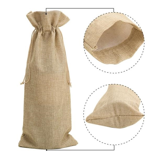 Jute Wine Bags, Wine Bottle Gift Bags with Drawstring ,Linen